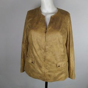 Jm collection tan zip up size 14w